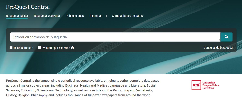 Captura de pantalla de la base de datos ProQuest Central con las principales opciones de búsqueda