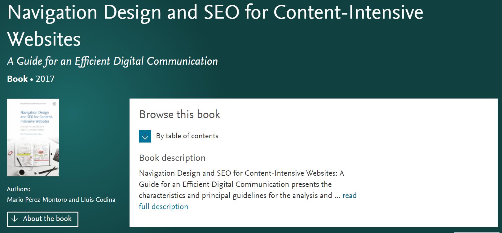 Portada y versión digital de una obra sobre diseño de la navegación web y SEO