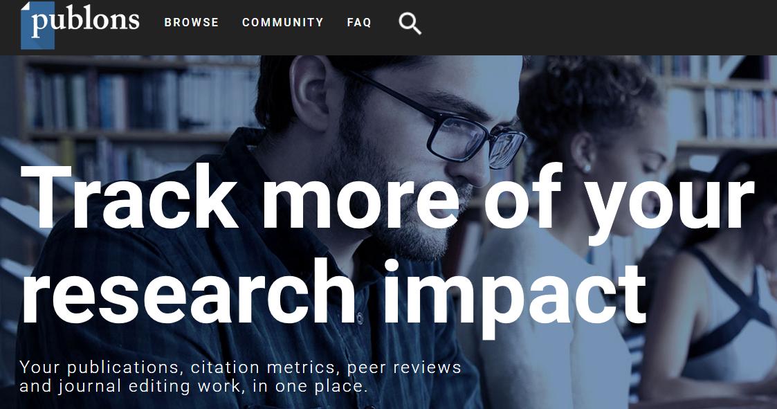 Publons: captura de la cabecera de su sitio web dedicado al peer review