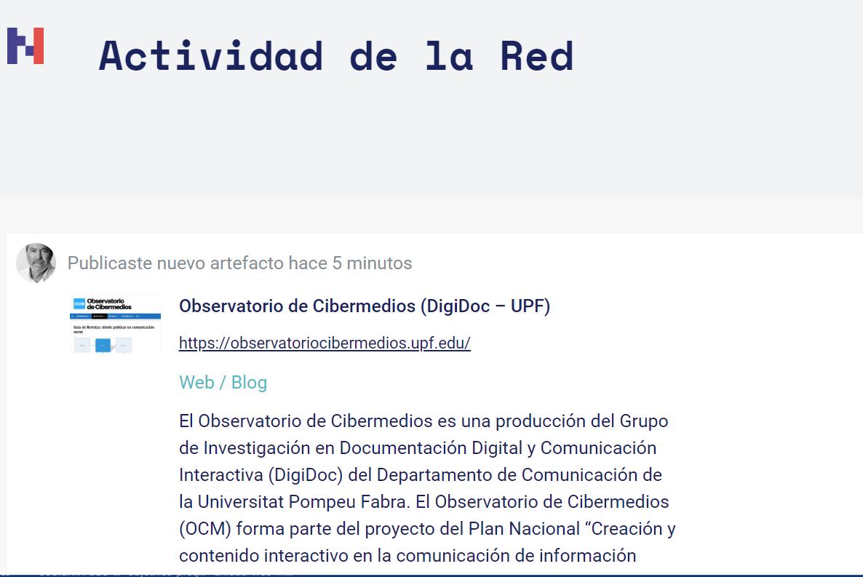 Diario de actividades en la Red