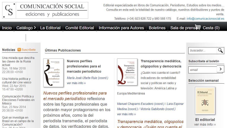 Captura de pantalla del Sitio web de la editorial Comunicación Social