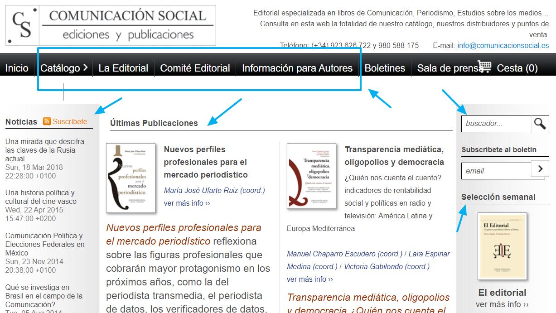 Estructura de la página principal del sitio web de la editorial
