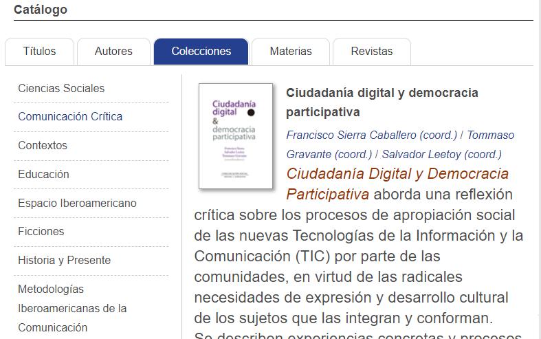 Catálogo de Comunicación Social - Colecciones