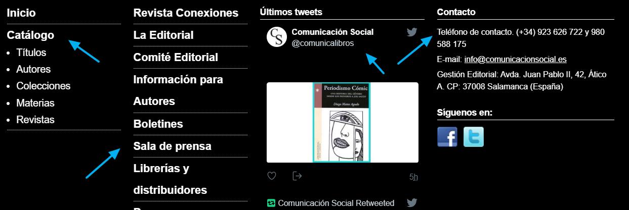 Navegación al pie del sitio web de la editorial Comunicación Social.