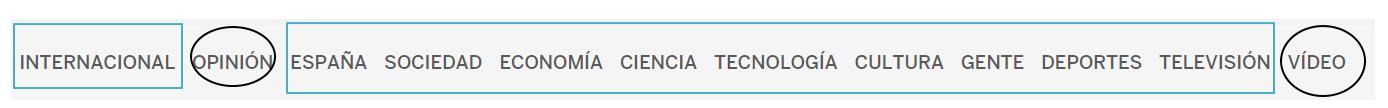 La taxonomía de El País como navegación principal