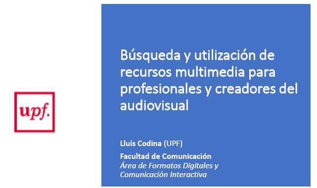 Cubierta de la presentación sobre búsqueda multimedia y bancos de imágenes
