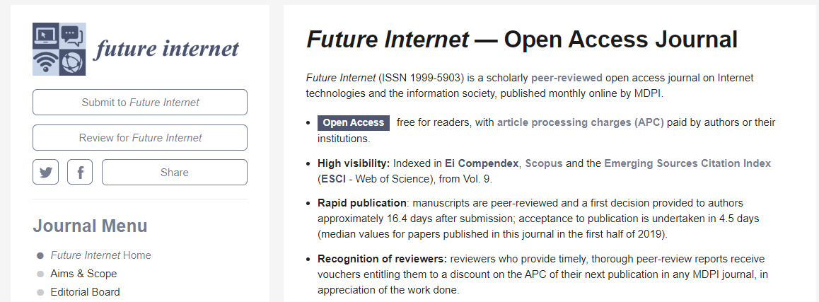 Social Web, New Media, Algorithms and Power [CFP 30 april 2020] · Future Internet Special Issue