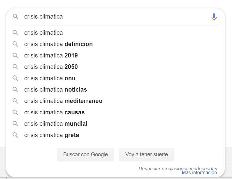 Búsqueda predictiva de Google