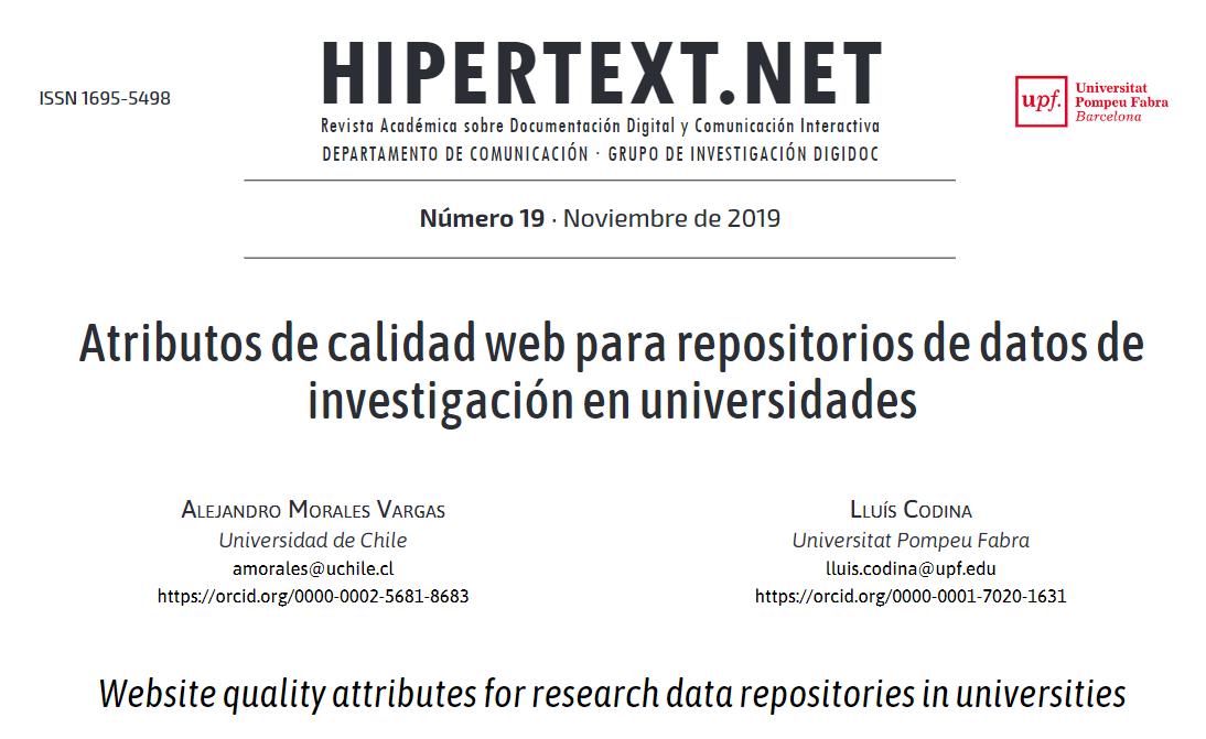 Cabecera del artículo sobre repositorios de datos de investigación
