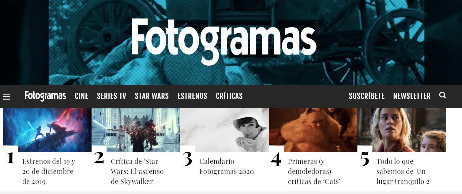 Cabecera de la revista de cine y tv Fotogramas.