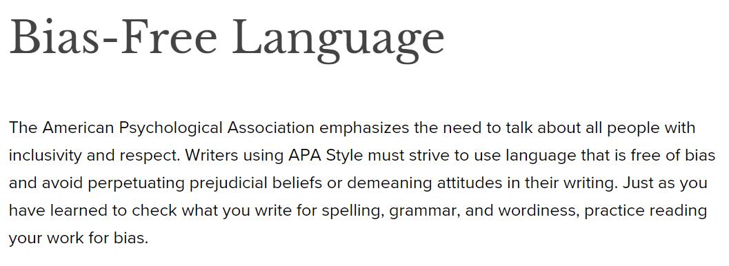Lenguaje libre de sesgos. APA Style