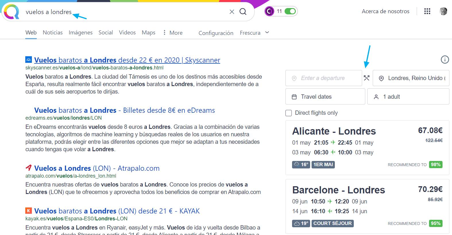 Páginas de resultados de Qwant para una intención de búsqueda