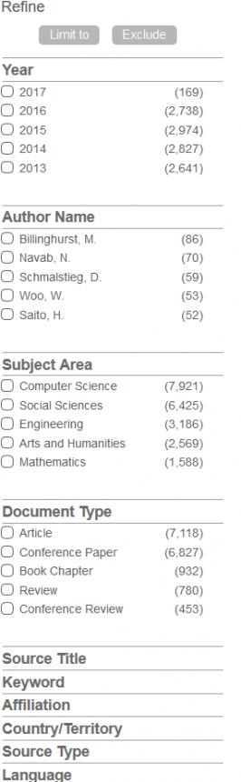 Opciones de filtrado de la información en Scopus
