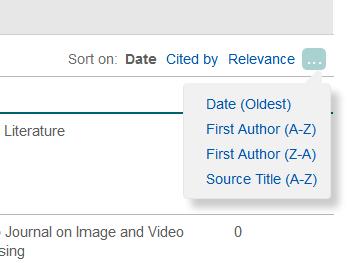 Opciones de ordenación de la página de resultados de una base de datos