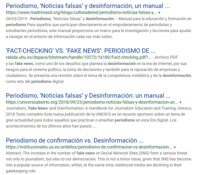 Página de resultados de Bing