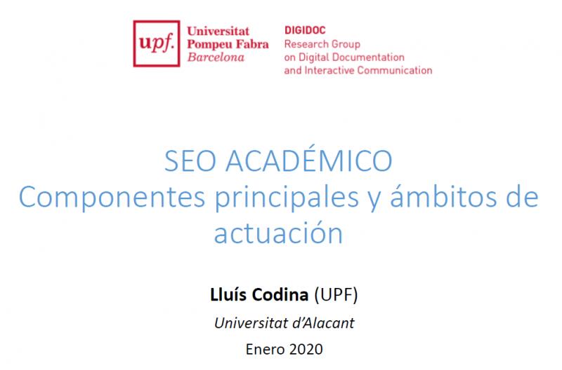 Cubierta de la presentación sobre SEO académico