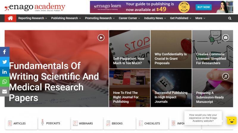 Enago Academy es una parte del servicio para autores de la empresa del mismo nombre
