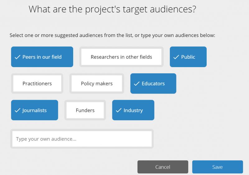 La comunicación de la ciencia exige definir audiencias. Captura del módulo de Kudos Pro