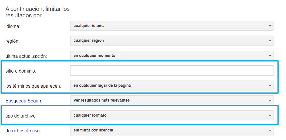 Formulario de Google para  ecuaciones de búsqueda parametrizada