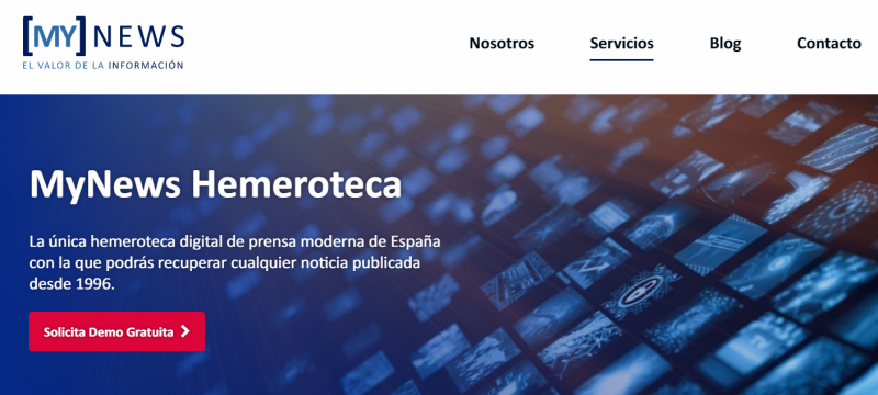 Captura del sitio web de My News Hemeroteca, base de datos de prensa.