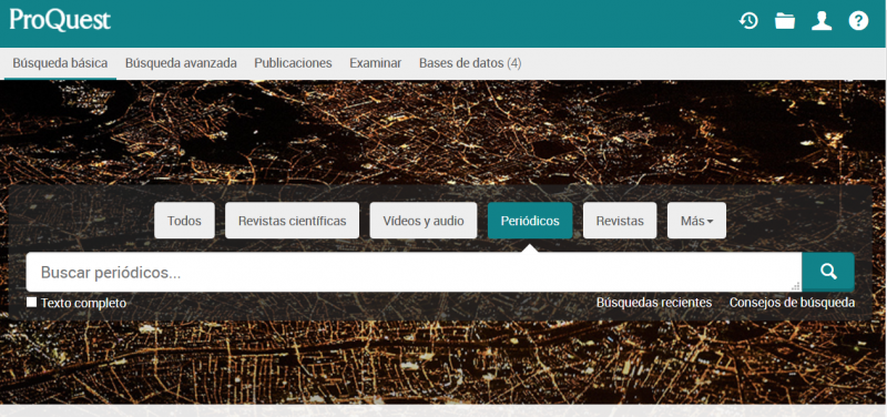 Sitio web de ProQuest Newsstream con bases de datos de prensa