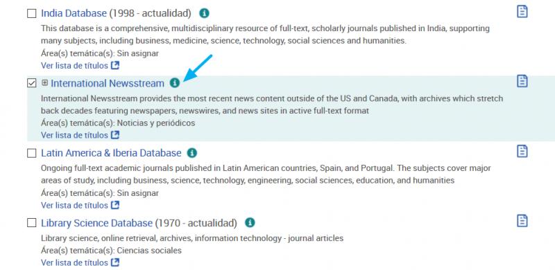 Selección de International Newsstream y otras bases de datos de prensa