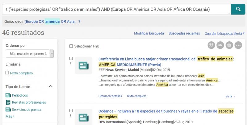 Ejemplo de resultado de búsqueda en Newsstream.