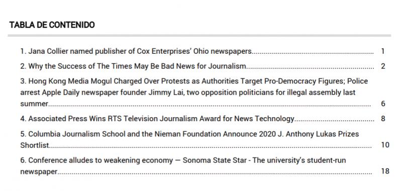 Dossier de prensa generado con Newsstream
