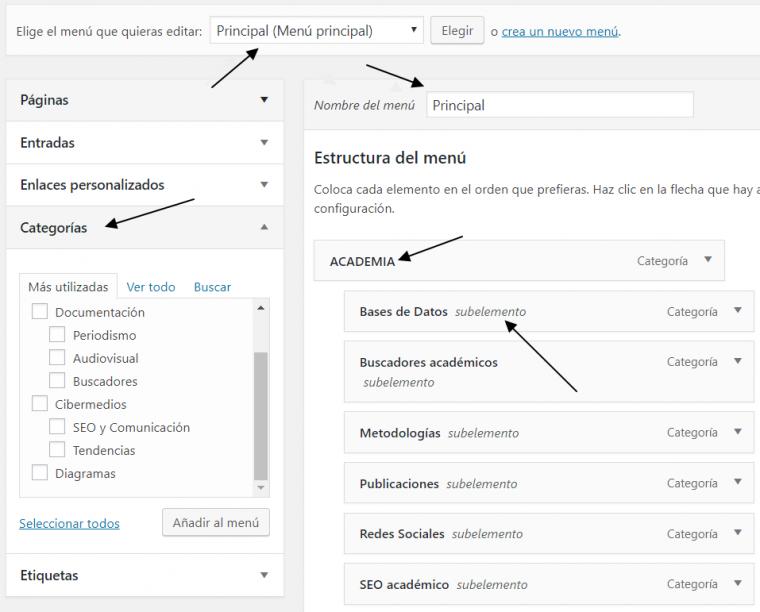 El formulario de WP pàra definir y editar estructuras de navegación