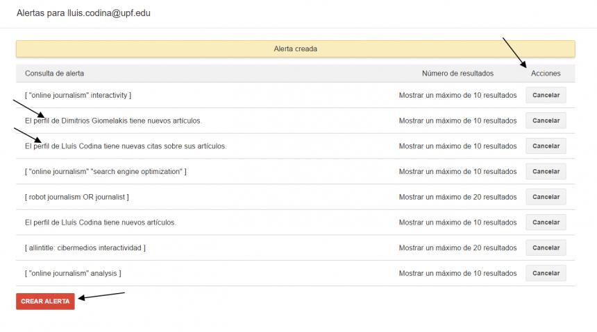 Google Académico: página de edición de alertas