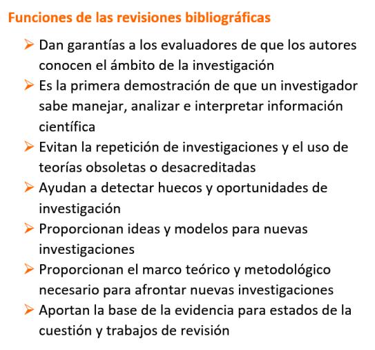 Funciones de las revisiones bibliográficas