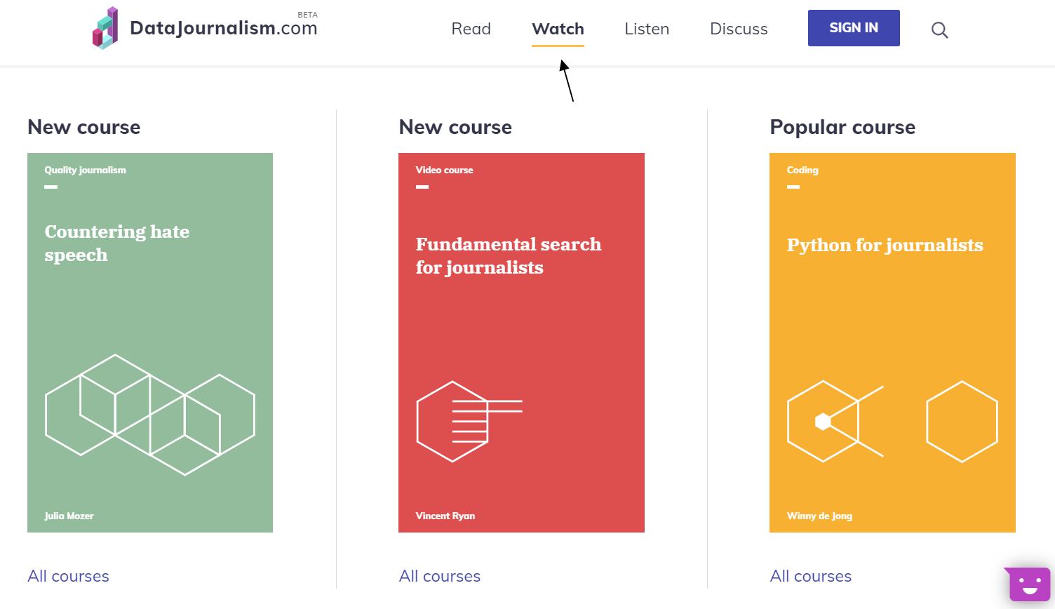 Cursos en video del portal sobre periodismo de datos