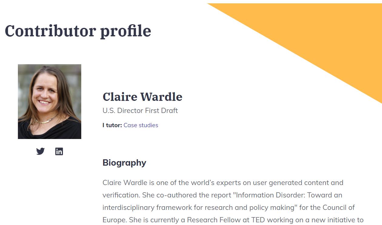 Perfil de autora Claire Wardle