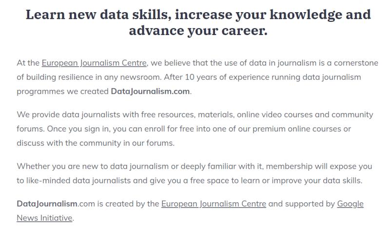 Captura de pantalla del Portal Datajournalism