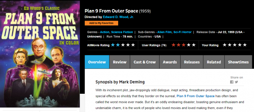 Registro cinematográfico de AllMovie: Plan 9 from outer space