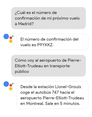 Ejemplo de interacción con Google Assistant
