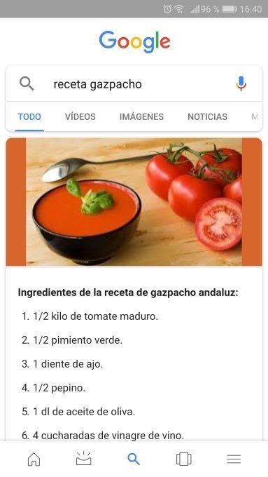 Una receta como parte de la respuesta a una búsqueda