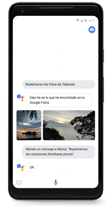 Un dispositivo de la web móvil con Google Assistant