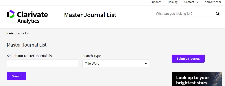 Master Journal List - Formulario de consulta por palabras clave y títulos