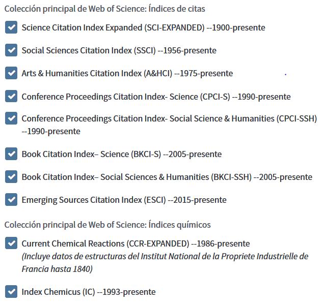 Colección Principal de WoS incluye índices que no forman parte del JCR