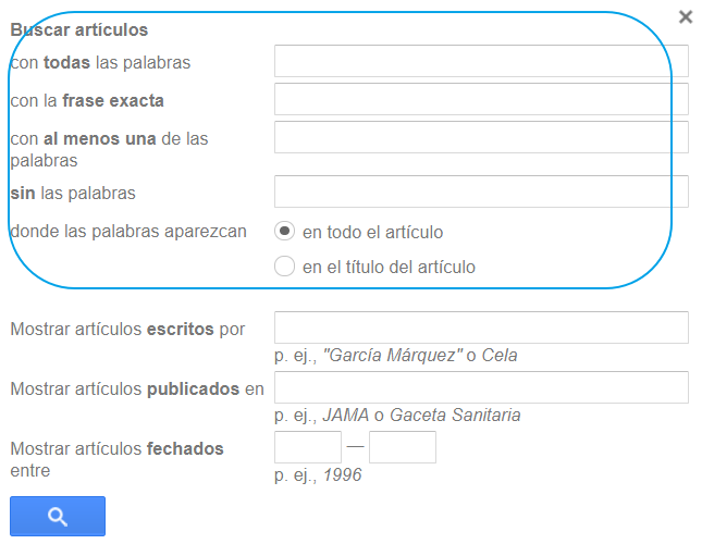 Google Académico: formulario de la búsqueda avanzada
