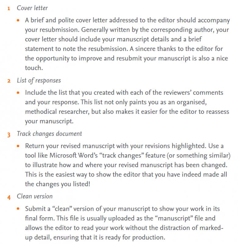 Consejos para enviar la nueva versión del artículo. CALM