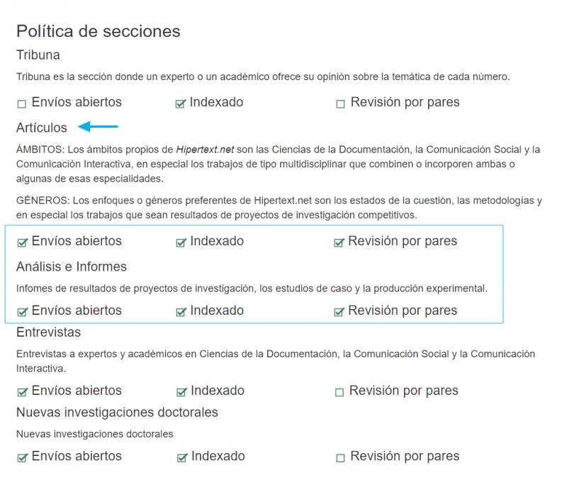 Ejemplo de página de información sobre tipo de artículo, indexación y revisión por pares, tomado de Hipertext.net.