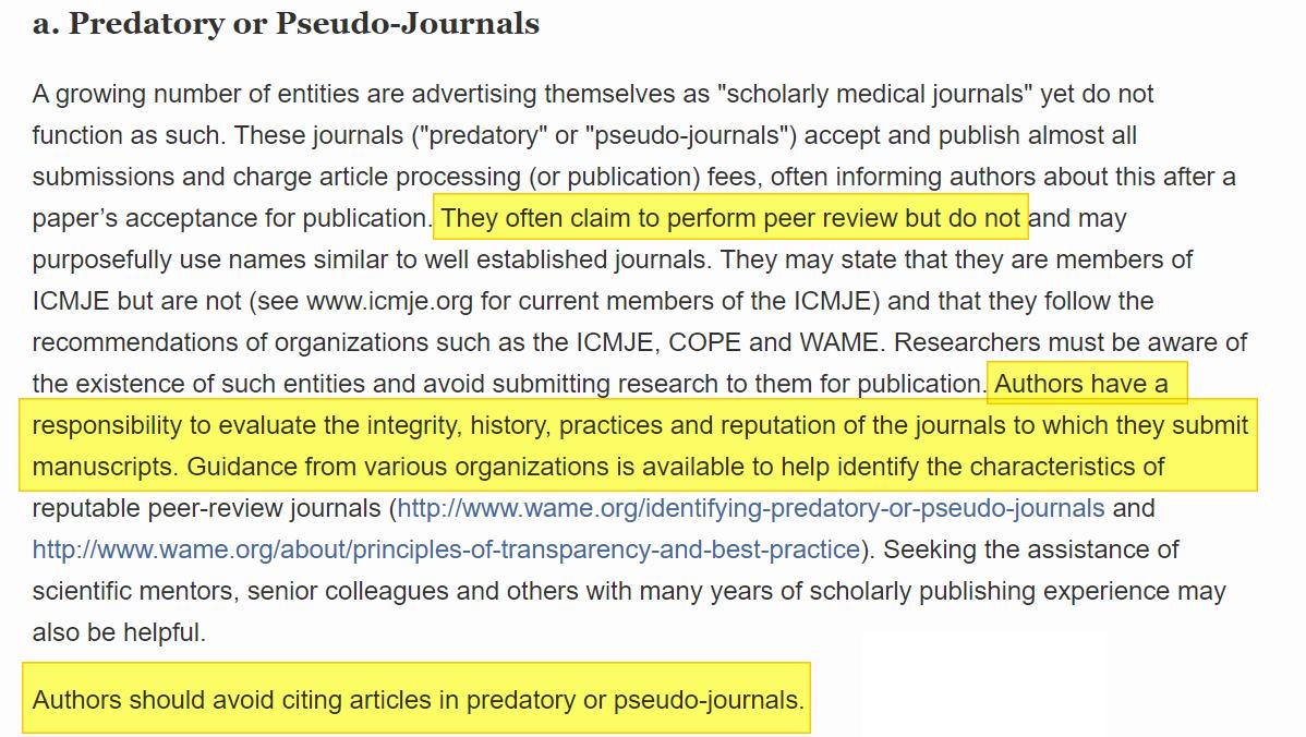 Las revistas depredadoras o pseudo journals según el ICJME.