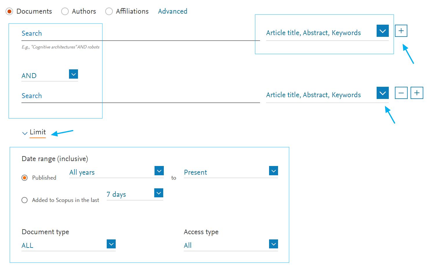 Interfaces de búsqueda en bases de datos académicas: Scopus