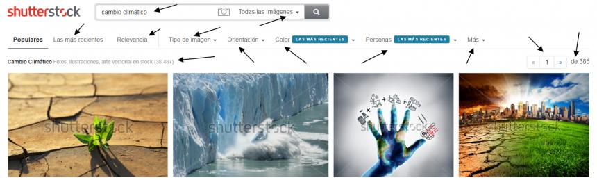 Página de resultados de Shutterstock