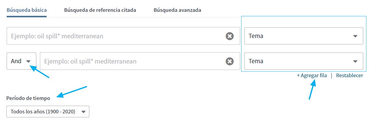 Formulario de búsqueda avanzada en WoS