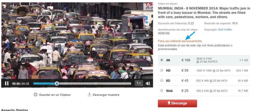 Registro de un clip de vídeo del banco de imáganes Shutterstock