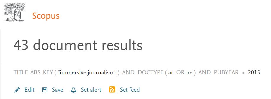 Parte superior de la página de resultados de Scopus