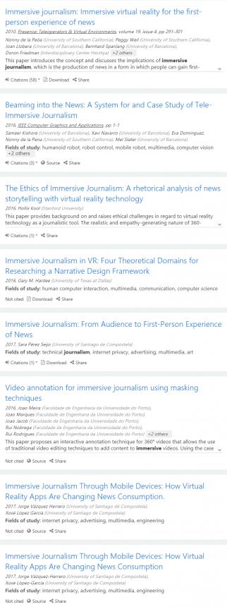 Primera página de resultados en Microsoft Academic